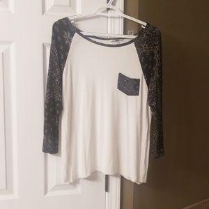 Black, white, paisley 3/4 sleeve